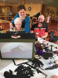 Anna Ingleby works with care home residents to create shadow theatre puppetry.