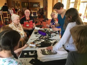 Anna Ingleby holds a shadow theatre workshops with a group of care home residents
