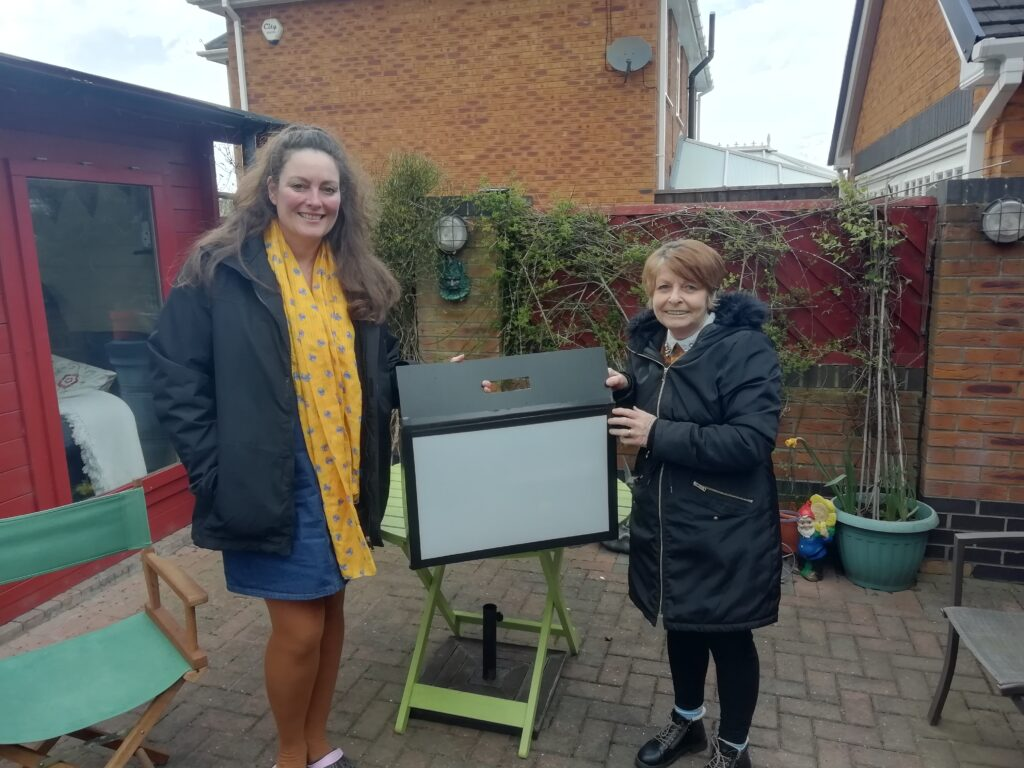 Lisa from Swanland Primary and Elaine from Figham House Care Home receive their shadow kit